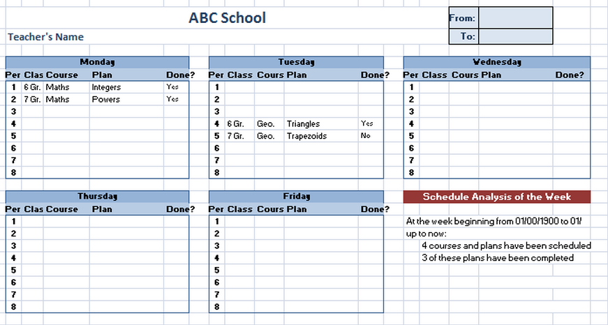 Class Schedule Template U2013 5 Free Templates