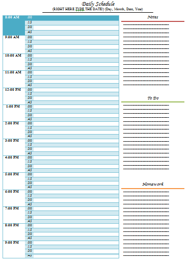 Daily Schedule Template U2013 5 Free Templates  Daily Scheduler Template