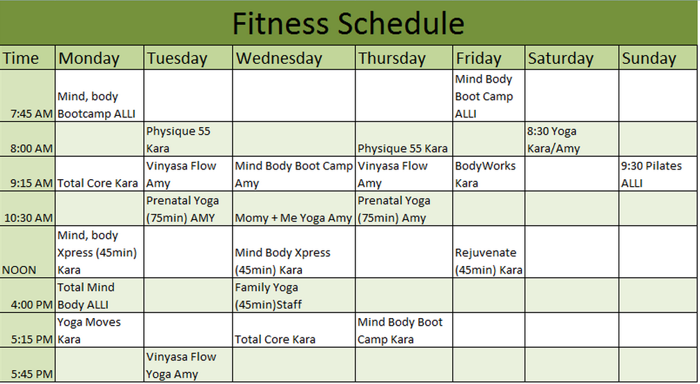 Fitness Schedule Template | Schedule Templates