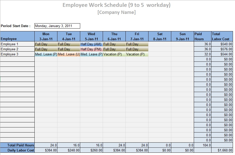 Labor Schedule Template – 6 Free Templates | Schedule Templates