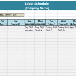 Labor Schedule Template – 6 Free Templates
