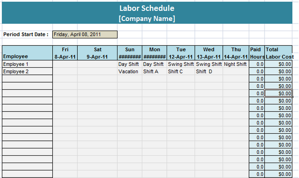 labor schedule template 6 free templates schedule templates