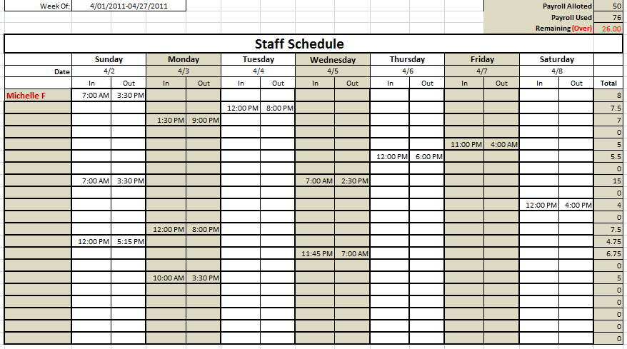 Staff Schedule Template
