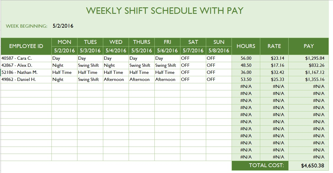 scheduling employees template
