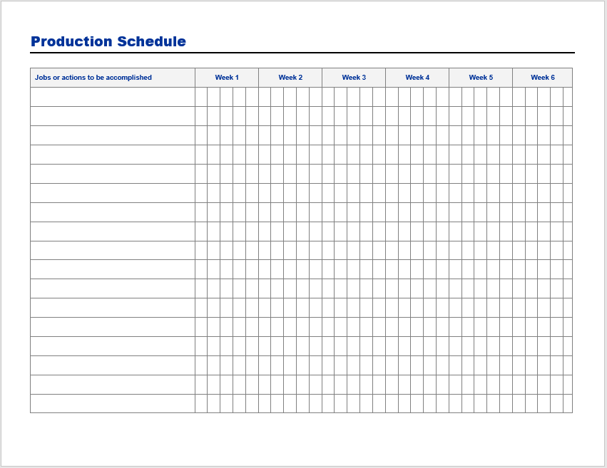 production schedule template 3