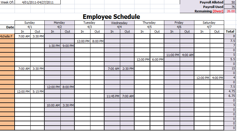 Employee Work Schedule Template | Schedule Templates