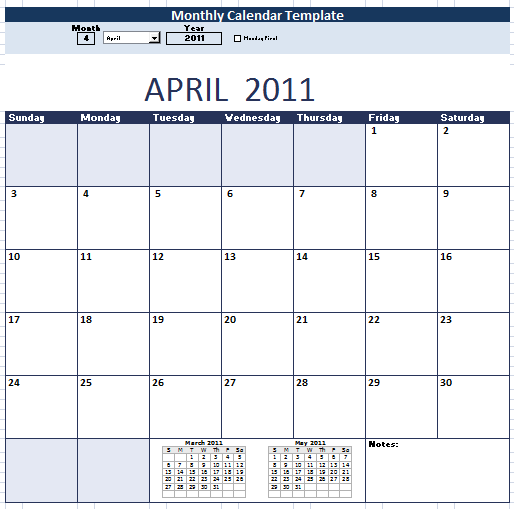 Monthly Calendar Schedule Template