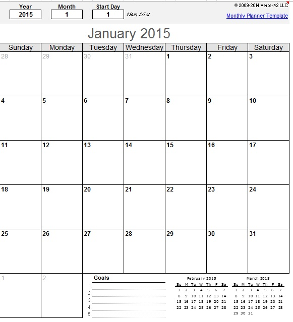 Monthly Calendar Schedule Template – 9 Free Templates | Schedule