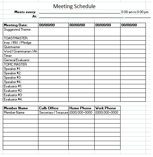 Meeting Schedule Template And Meeting Scheduler Template