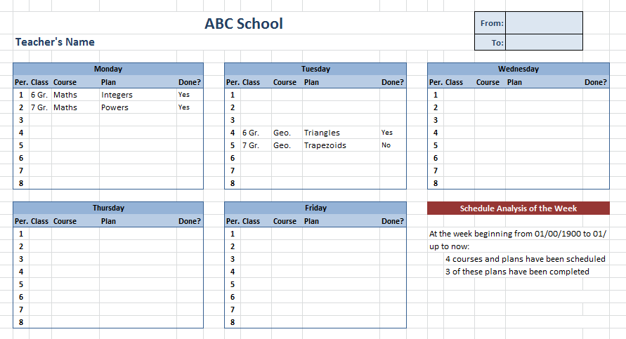 Teacher Schedule Template – 5 Free Templates (MS Word & PDF ...