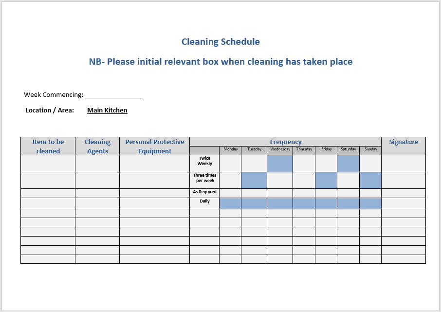 Cleaning Schedule Template 2