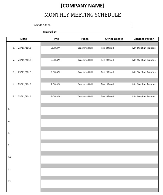 Meeting Schedule Template   Free Templates  Schedule Templates