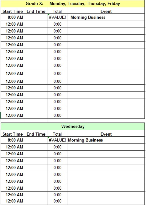 daily time schedule template