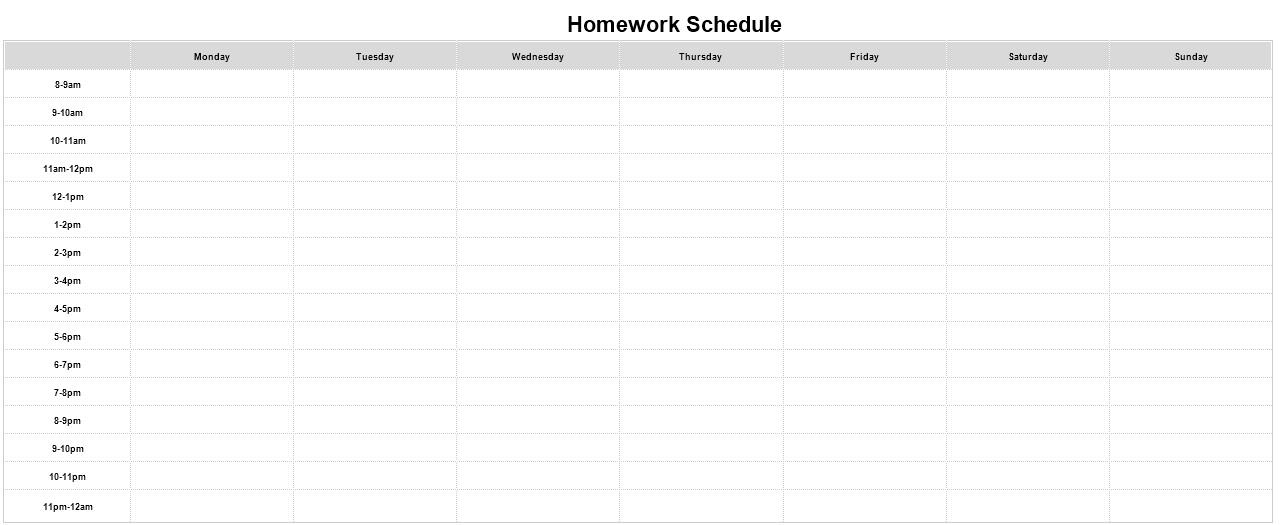 homework schedule template free