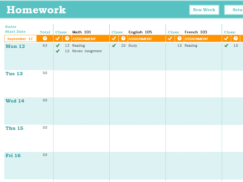 Homework Schedule Template