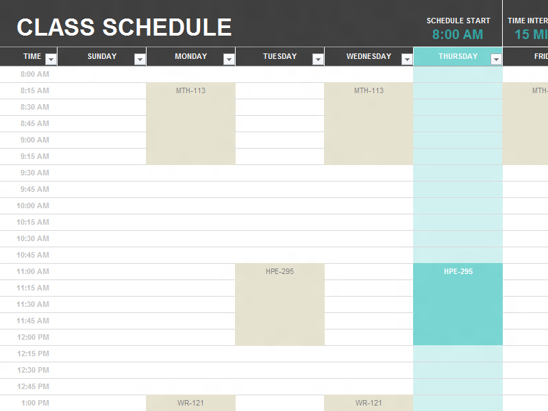 School Schedule Template – 9 Free Templates | Schedule Templates