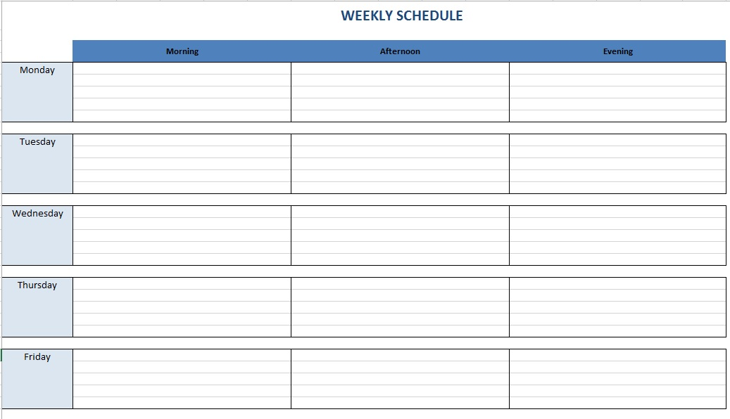 100 Timetable Excel Template Building Maintenance