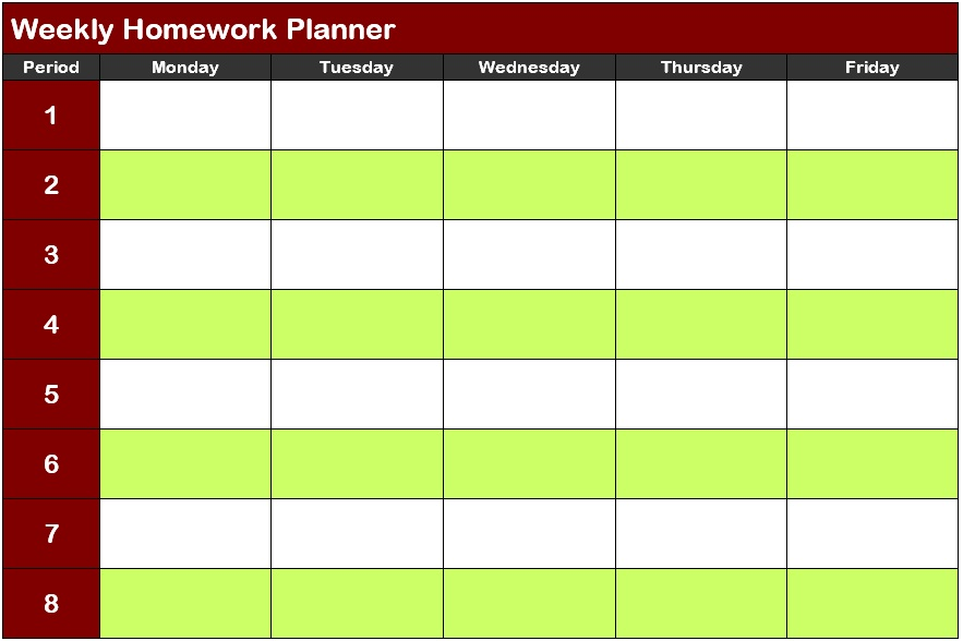 11 Free Homework Schedule Template (MS Word and MS Excel ...