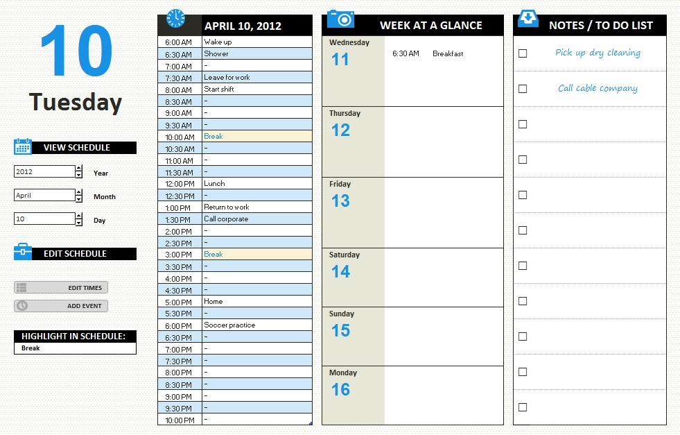 Office Schedule Template – 9 Free Templates | Schedule Templates