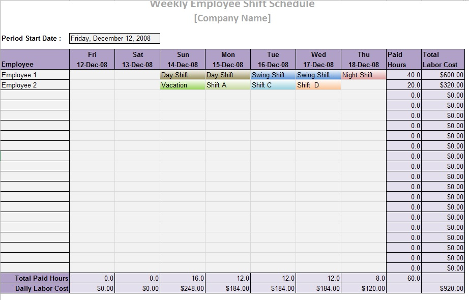 Office Schedule Template Free Templates Schedule Templates - Night shift schedule template