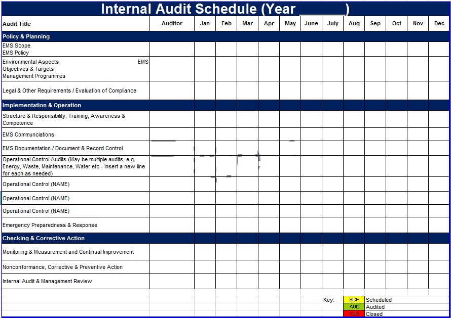 Audit Schedule Template – 6 Free Templates | Schedule Templates