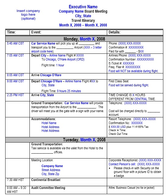 Travel Itinerary Template   Free Templates  Schedule Templates