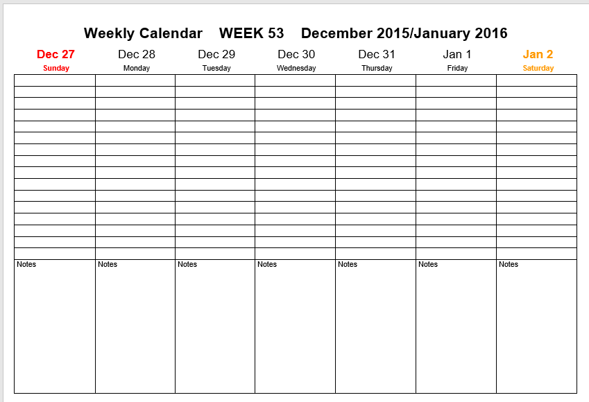 weekly schedule word template 07