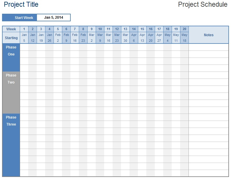 Project Schedule Template   Free Templates  Schedule Templates