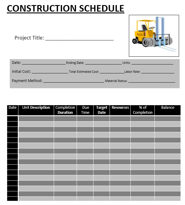 Construction Schedule Template - 5 Free Templates - Schedule Templates
