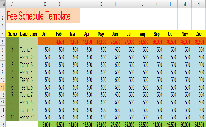 Fee Schedule Template 7 Free Templates Schedule Templates