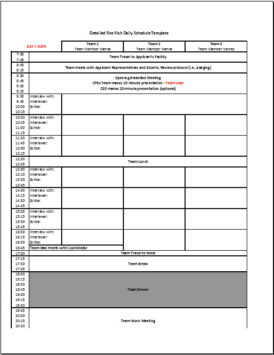 Work Schedule Template 07