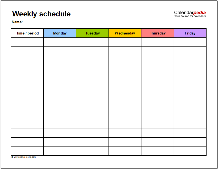 Work Schedule Template 12