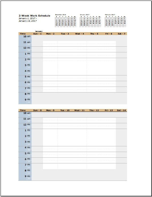 Work Schedule Template 13