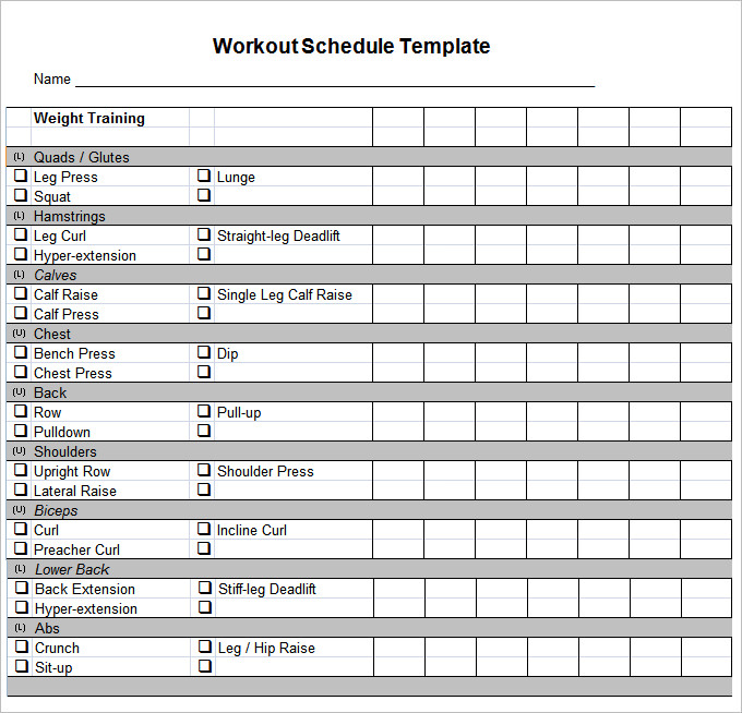 Training Schedule Template Fitness Schedule Template Free Templates