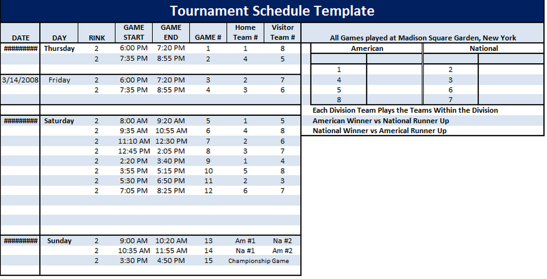 Tournament schedule template 6 free templates schedule for Tournament spreadsheet template