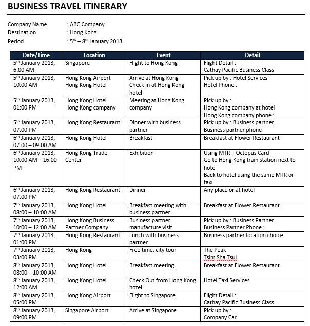 Business Itinerary Schedule Template Word Doc Schedule