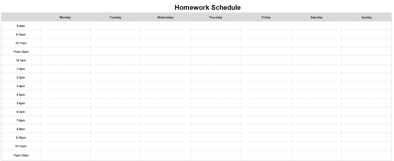 how to make a homework schedule on excel