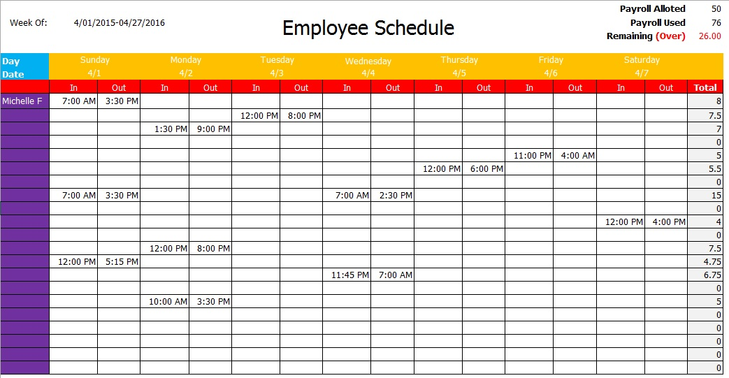9 Free Office Schedule Templates in MS Word and MS Excel