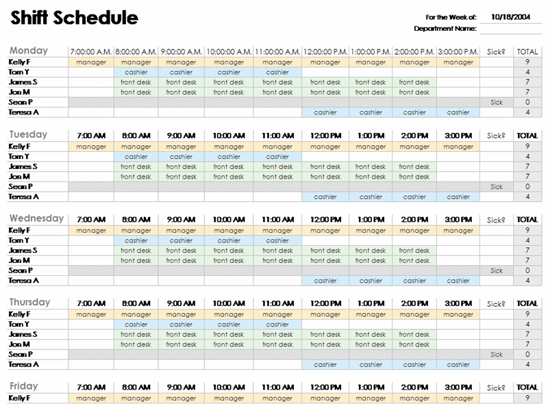 Office Schedule Template 6 Free Templates Schedule