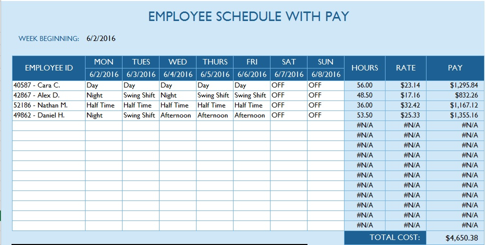 download link for this office schedule template