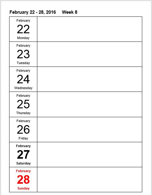 weekly schedule word template 04