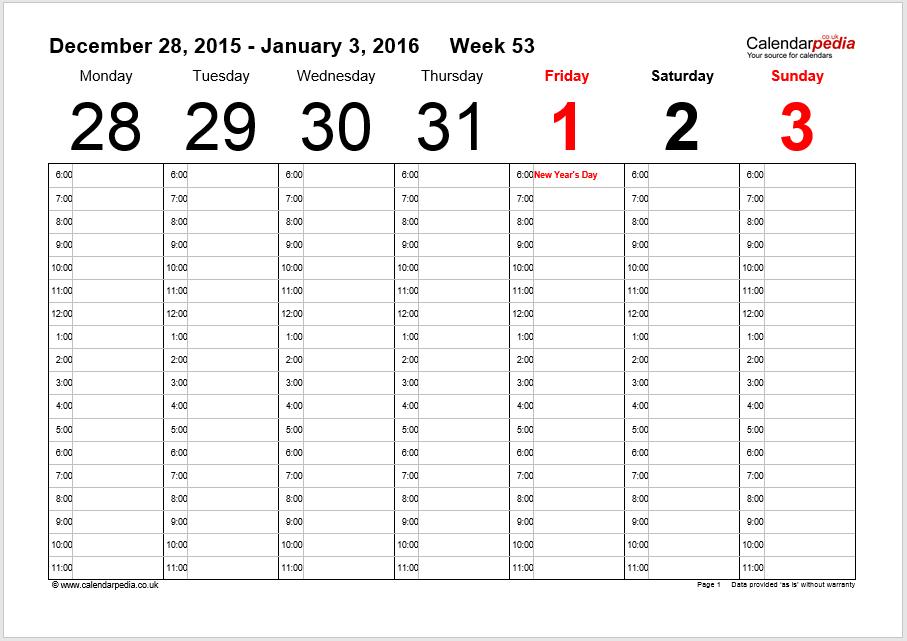 weekly schedule word template 06