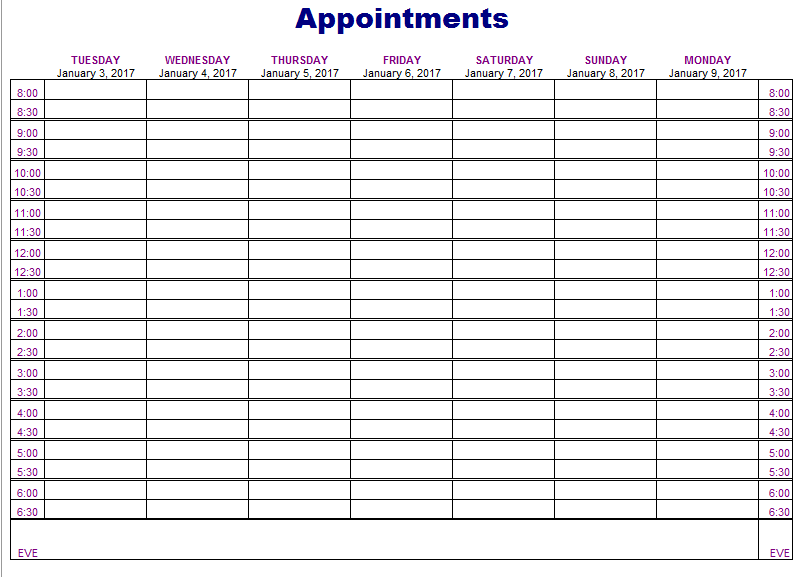 Universal image for printable appointment book