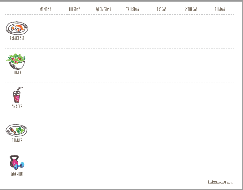 Weekly Workout Menu Schedue Template