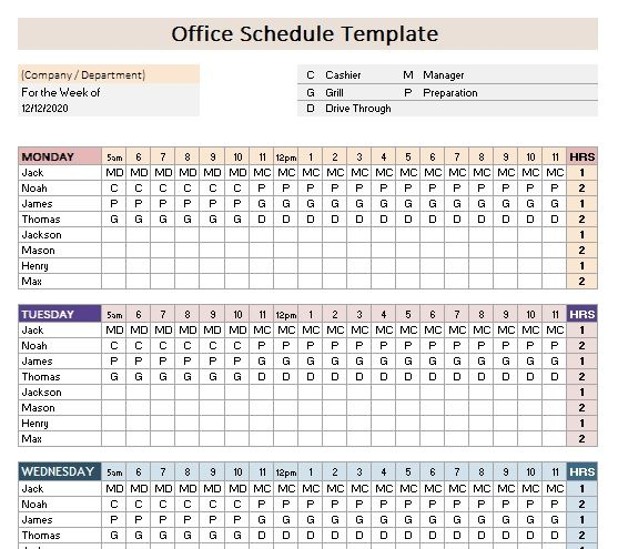 Office Schedule Template from www.scheduletemplate.org