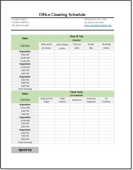 Office Schedule Template 02