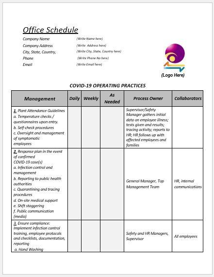 Office Schedule Template 04