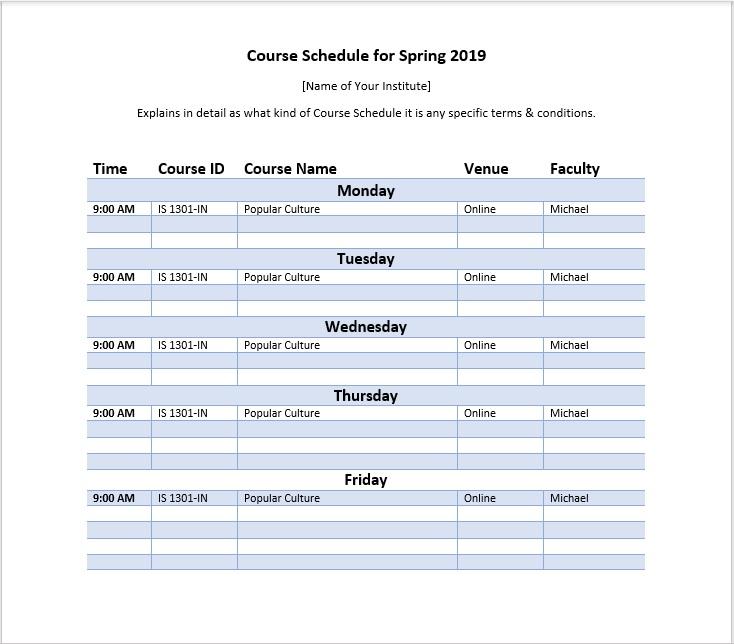 Course Schedule Template 03
