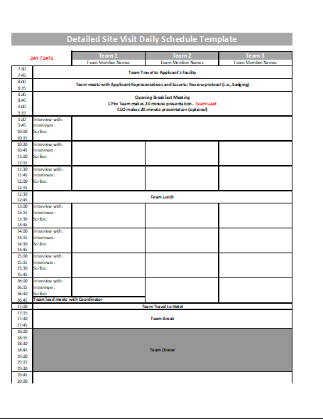 Detailed Site Visit Daily Schedule Template