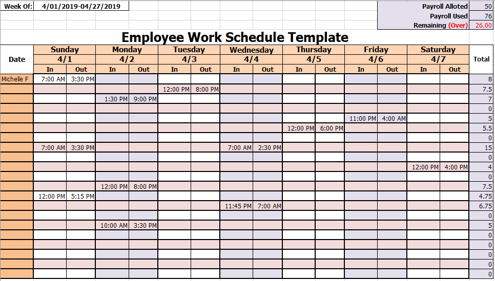 15 Free Employee Work Schedule Templates In Ms Excel Ms Word Format
